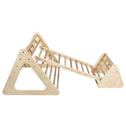 MAMI | Triángulo de Pikler para niños | 2 triángulos con escalera | Estructura para escalada de interior | Fabricado en madera natural