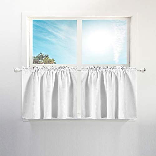 Waffle Weave Half Window Tier Curtains: 24 Inch Short Length for Small Window in Kitchen & Bathroom, Waterproof and Washable - White, 36'x24' for Each Panel, Set of 2