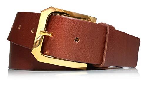 almela - Cinturón de mujer en piel legítima - Hebilla oro - Cuero vaquetilla - 4 cm de ancho - Vestidos, vaqueros, jeans, vestir, tejanos - hebilla dorada. (Tostado, 110)