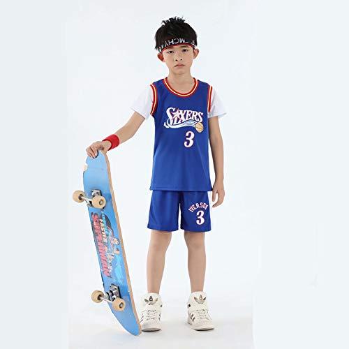 anking di Boy Girl Jersey NBA 76ers # 3 Allen Iverson Basket Maglie Mesh Traspirante Pallacanestro T-Shirt Set, Eco-Friendly Elastic Fabric: 100% Poliestere,XS