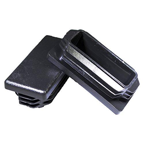 Prescott Plastics 1 x 2 Inch Rectangle Black Plastic Plug End Cap (8)