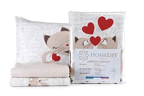 HomeLife Set Lenzuola Letto Matrimoniale Cotone Gattini, Made in Italy | Completo 2 Piazze + Federe Beige e Disegno Gatti | Lenzuolo sopra 250x300 + sotto a Angoli 180x200 + 2 Federe 52x82 - Beige,2P