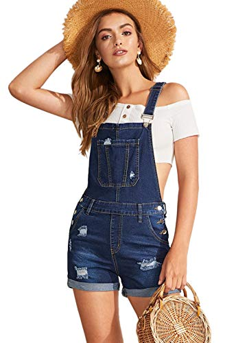 Milumia Women's Ripped Rolled Hem Denim Pinafore Overall Shorts Romper Jumpsuit Deep Blue Small