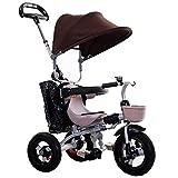 LAZ Triciclo para bebés con manija de empuje, toldo extendido, cochecito de bebé fácil, con una mano, cochecito de bebé, bandeja para padres y niños (Color : Brown)