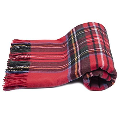 Manta escocesa 100 % pura lana medida 150 x 180 cm (rojo)