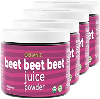 Beet Beet Beet, Organic Beet Juice Powder, 4 Jars (300G), 100% Pure USA Grown Beets, NO Additives or Flavors, Cold Temperature Processed for Maximum Potency. 100% Organic, GMO-Free NO Added Sugar
