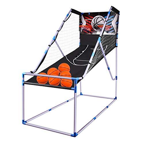 Bilisder Kinder Basketballspiel für 2 Spieler Indoor Outdoor Set mit Punktezählsystem, Soundeffekte, 6 kleine Basketbälle & Pumpe, Basketball Arcade Game für die Ganze Familie