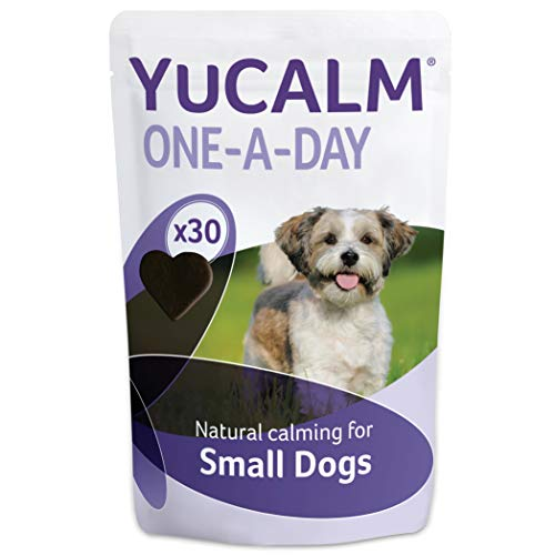 Lintbells YuCALM One-A-Day Calming Dog Supplement - 30 Natural Tasty Chews to Help Ease Stress and Anxiety with Soothing Lemon Balm and L-Theanine  Small Dogs  Under 35 lb.