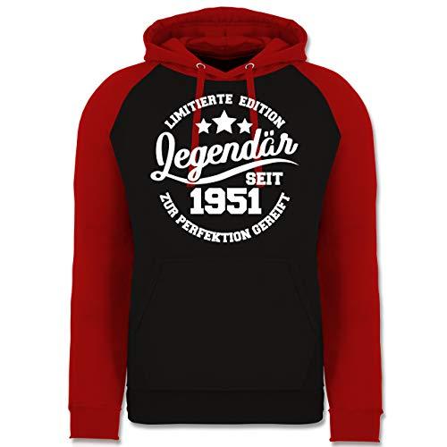 Shirtracer Geburtstag - Legendär seit 1951 - weiß - M - Schwarz/Rot - JH009_Baseball_Hoodie_Unisex - JH009 - Baseball Hoodie