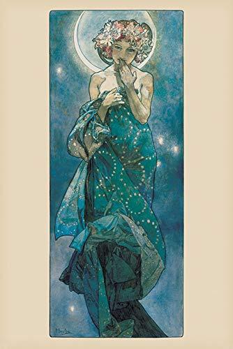 Unbekannt Alphonse Mucha Poster Moon, Mehrfarbig, 61 x 91.5cm