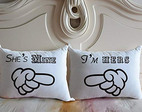 pmxkbzzr Lesbian Wedding Gift, Lesbian Anniversary Couple Pillow Cover,She's Mine,I'm Hers, Same Sex Cushion Cover Case, Girlfriend Gift, Mrs and Mrs