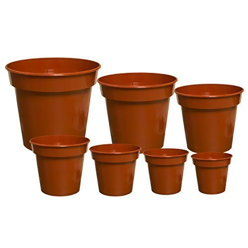 Elixir Gardens ® Strong Deep Terracotta Plastic Plant Pot Various Sizes