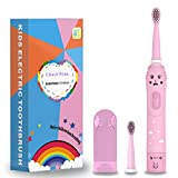 Brosse à dents électrique rechargeable pour enfants, brosse à dents sonique de dessin animé pour enfants de 3 à 12 ans, rappel de 30 secondes, minuterie de 2 minutes, 6 modes, 2 têtes de brosse