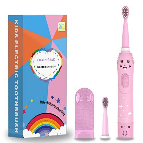 Spazzolino da denti ricaricabile per bambini, spazzolino sonico per bambini, spazzolino elettrico per ragazze dai 3 ai 12 anni, promemoria 30 secondi, timer 2 minuti,6 modalità, 2 testine, carica USB