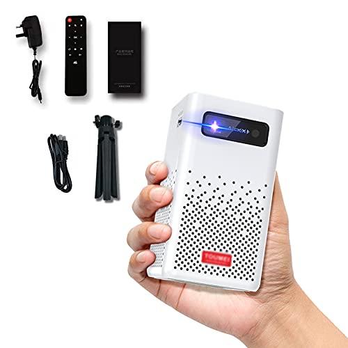 LXLTL Mini Proiettore Portatile, LED Videoproiettore Tascabile con Batteria, Incorporato Sistema 9.0 Android Supporta WiFi, Dispositivi HDMI USB TF (per Treppiede Incluso),Bianca