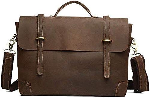 Briefcase Home Mode Postman tragbare Aktentasche Leder Schulter Crossbody Tasche