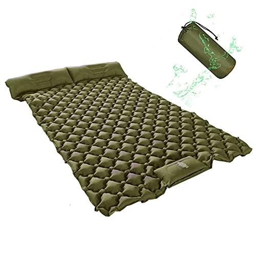 HEPU Isomatte Selbstaufblasend, Isomatte für 2 Personen, mit Kissen, Ultraleichte Tragbare Isomatte, für Outdoor,Feuchtigkeitsfes, für Camping Wandern Backpacking Trekking
