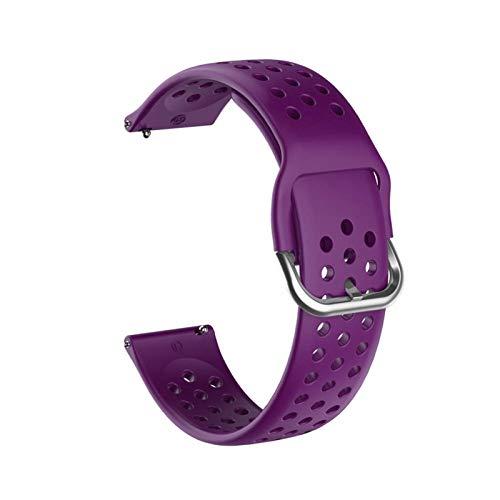 HGGFA Correa de silicona suave de 20 mm para Huawei Honor Watch ES Correa de repuesto para Garmin Venu pulsera (Color de la correa: morado, ancho de la correa: 20 mm)