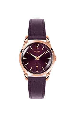 Henry London Damen Datum klassisch Quarz Uhr mit Leder Armband HL30-US-0076