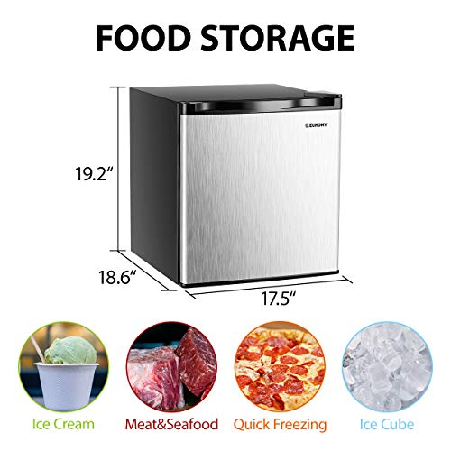 Euhomy Mini Freezer Countertop, Energy Star 1.1 Cubic Feet Single Door Compact Upright Freezer with Reversible Stainless Steel Door(Silver)