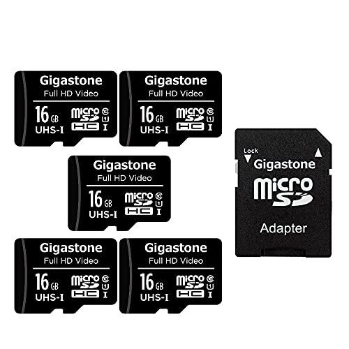 Gigastone 16GB Tarjeta de Memoria Micro SD, Paquete de 5, Video Full HD, Cámara de Vigilancia y Seguridad, Cámara de Acción, Drone, 85 MB/s Micro SDHC UHS-I U1 C10 Clase 10