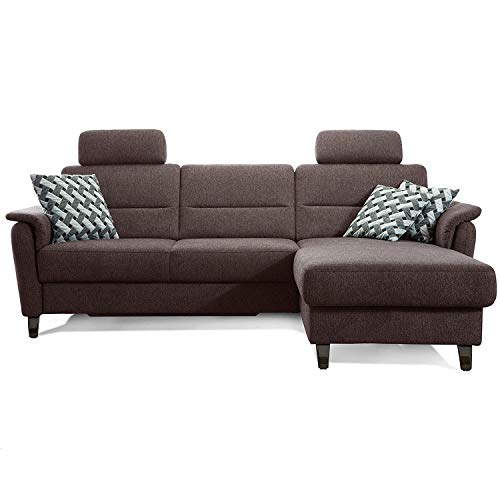 Cavadore Schlafsofa Palera mit Federkern / L-Form Sofa mit Bettfunktion / 244 x 89 x 164 / Stoff Braun