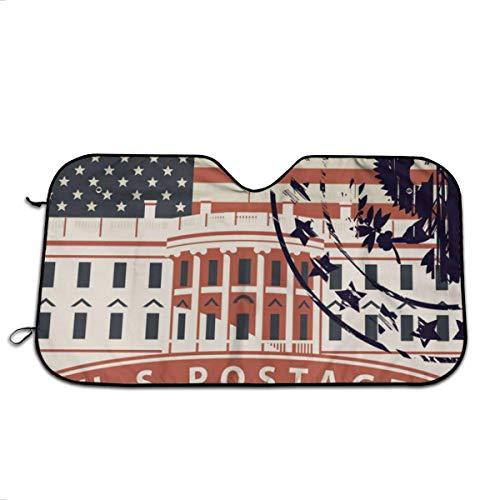 Olive Croft Estampilla con la Casa Blanca en Washington DC Parabrisas del Coche Sombrilla Parasol Sombrilla para Coche UV Sol y Reflector de Calor 27.5X51 Inch