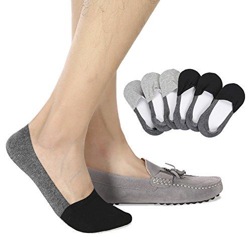 Joulli Casual No Show Liners Socks For Men 6 pack Non Slip Boat Socks,Black Gray,light Gray,Small