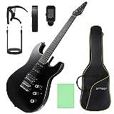 ammoon ST Guitarra Eléctrica de Tamaño Completo, Kit de Guitarra Eléctrica, para Principiantes, Con Afinador, Cejilla, Correa, Funda de Guitarra y Cable de Guitarra etc. (Negro)