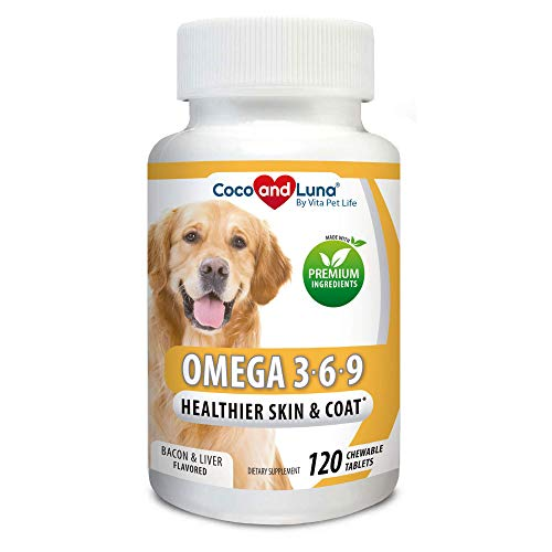 Omega 3 for Dogs - Salmon Oil for Dogs - Itch Relief, Allergy Support, Brain Health, Skin and Coat, DHA EPA Fatty Acids, Immune Support - 120 Chew-able Tablets