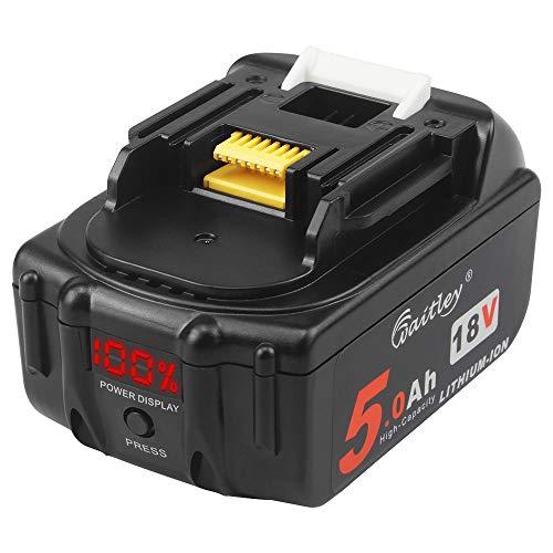 Waitley 18V 5Ah BL1850b Ersatzbatterie Kompatibel mit Makita BL1830 BL1840 BL1850 BL1860 Schnurlose Werkzeuge mit digitaler Anzeige