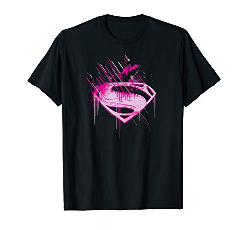 Superman Man of Steel Pink Splatter T-Shirt