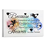 Wall Art Canvas Print 12x16 Inches Because Someone We Love Is in Heaven Framed Painting Artwork Farmhouse Poster Sign for Home, Office