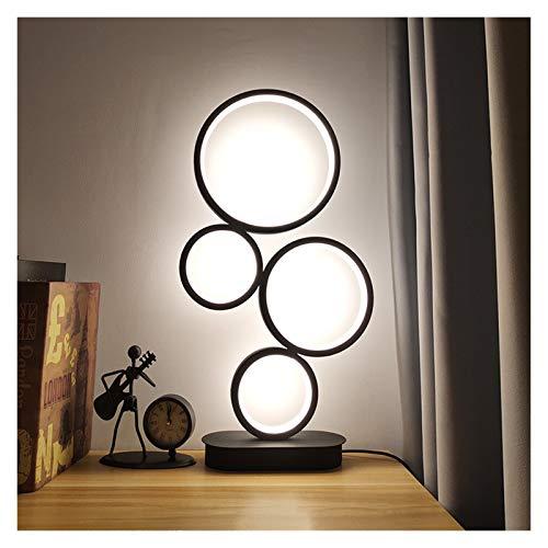 Yanqhua Lámpara de Mesa Lámpara de Mesa LED Dimmable 4 Forma de círculo Moderno Diseño único Iluminación Color Ajustable Luz Ajustable 14W Escritorio Noche Lámpara