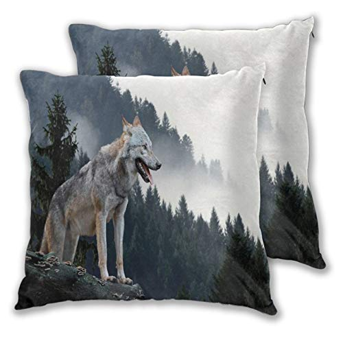 BROWCIN 2 Pack Funda de Almohada Animales Caza de Lobos de Madera en la montaña Lino Suave Cuadrado Sofá Cama Decoración Hogar para Cojín 60cm x 60cm