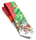 Jerry Garcia Mens Designer Fashion Party Holiday Tie Red Green Reindeer Santa
