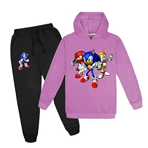 mama stadt Sportswear Sets Zweiteiliger Sonic The Hedgehog Sweatshirt mit Kapuze und Hosen Trainingsanzüge für Mädchen Jungen/100