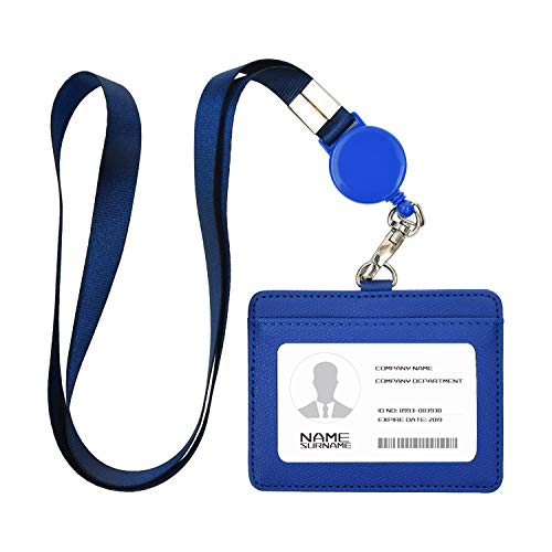 IDカードホルダー ネームホルダー 名札ホルダー PU 横型 社員証 カードケース カードケース メンズ 防水 伸縮リール式 ネックストラップ 吊り下げ パスケース カード入れ 名札ケース 定期入れ 通勤 通学 男女兼用 名刺入れ (横+ブルー)