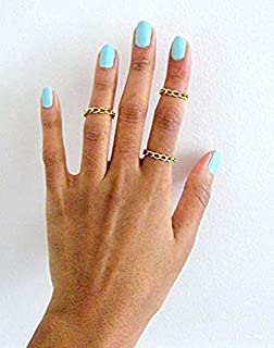Tiny Stacking Rings Set of 3 Curb Link in Silver and Black Chain Ring Set for Womens