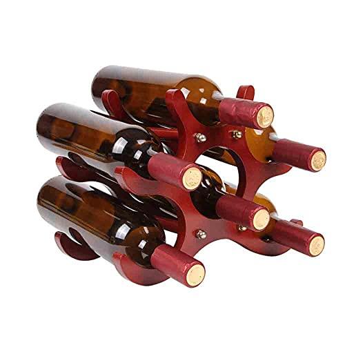Wine rack El botellero de Madera Maciza Puede Contener 4-6 Botellas de Vino Tinto de 750 ml de especificación Normal L 26 X W 21.5 X H16.5cm
