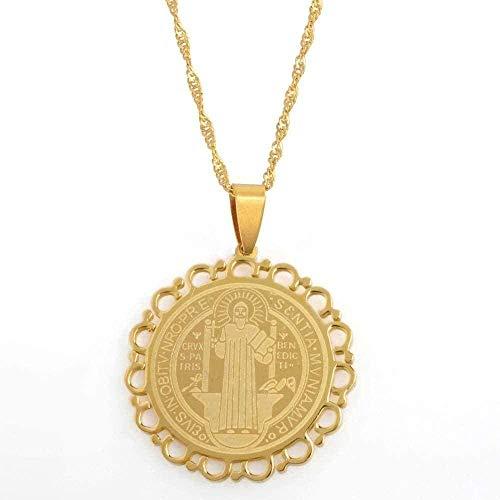 YOUZYHG co.,ltd Collar Saint-Barbe, patrón católico,Medalla Sagrada, Color, Colgante de Oro, Collares para Mujeres, Insignias benedictinas