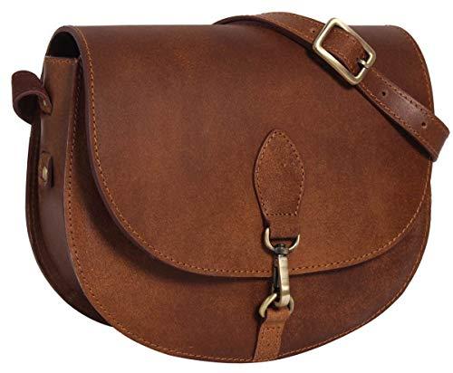 Gusti Handtasche Damen Leder - Umhängetasche Wiebke Ledertasche Schultertasche Damen klein Braun