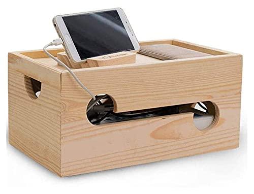 Lzpzz Caja de Cables de Madera, Caja de administración de Cables para...