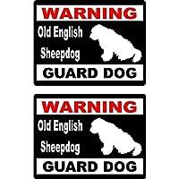 WZZA 15x11.5cm 2倍漫画警告古いシープドッグガード犬楽しいレトロな反射車の窓ステッカーデカール