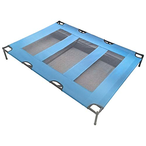 XGao Cooling Elevated Dog Bed for Summer, Detachable Cat Beds Portable Pet Cot, Waterproof & Breathable Mat, Durable Mesh Fabric, No-Slip for Indoor Outdoor Dogs Cats (48.0 x 35.8 x 6.3 inches)