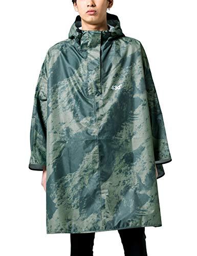 43DEGREES レインポンチョ [Snow mountain B/フリーサイズ ] ユニセックス ショルダーバッグタイプ (収納バッグ付き) 雨具 防水 撥水 透湿 レインコート