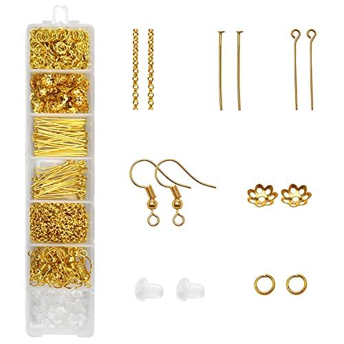 520 Piezas Kit Reparación Collar Joyería Hacer Bisuteria Cuentas para Principiantes Kit de Fabricación de Pendiente Bricolaje para Hacer Joyas de Pendientes