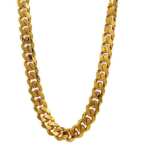 TUOKAY Cadena plana de oro sinttico de 18 quilates, cadena de oro falso de los aos 90 para mujeres y hombres, delicada y brillante cadena de oro sinttico collar de cadena de 60,96 cm 7 mm