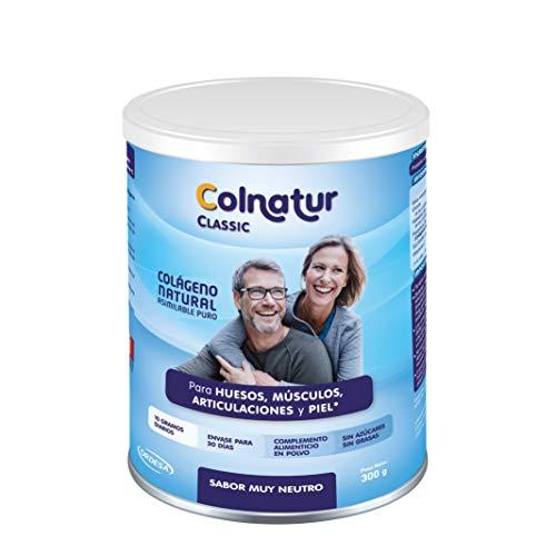 Colnatur Classic Neutro 300 g - Colágeno natural asimilable puro, con vitamina C, cuidado para articulaciones, huesos, músculos y piel - 10 grs diarios, envase para 30 días.
