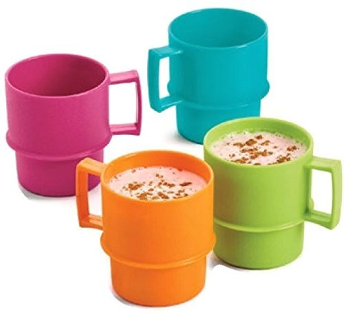 Tupperware Mini Mugs Play Set Doll Size Bright Colors Set of 4